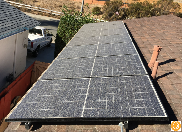 dust collecting on solar panels